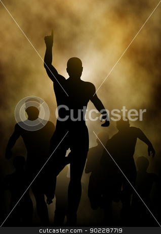 Winning stock vector clipart, Editable vector illustration of a man celebrating winning a race with smoky or steamy background made with a gradient mesh by Robert Adrian Hillman