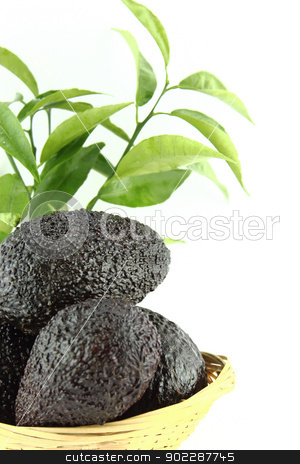 Avocados stock photo, Avocados with leaves on a Dish of straw by Designsstock