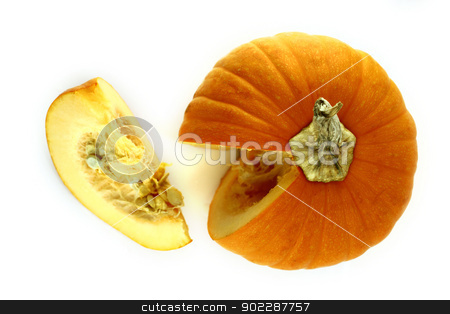 ripe pumpkin  stock photo, piece of ripe pumpkin on a white background  by Designsstock