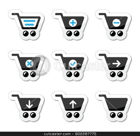 Shopping cart vector icons set stock vector clipart, Black and blue labels set with reflection - shopping online by Agnieszka Murphy