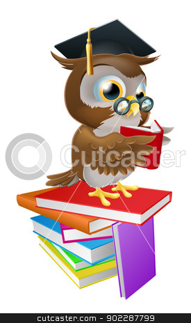 Wise owl reading stock vector clipart, An illustration of a wise owl on a stack of books reading wearing spectacles and a mortar board graduate cap. by Christos Georghiou