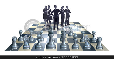Chess Business Team Concept stock vector clipart, Illustration of a chess business concept. A business team on one side of the chess board playing against chess pieces.  by Christos Georghiou