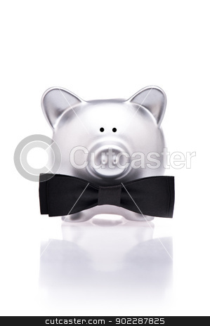 Silver piggy bank with bow tie stock photo, Silver piggy bank with bow tie over white by Ulrich Schade