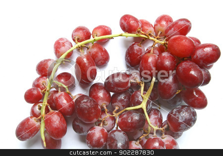 grape stock photo, bunch of red grapes fruite isolated on white by Vichaya Kiatying-Angsulee