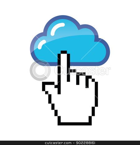 Blue cloud with cursor hand vector stock vector