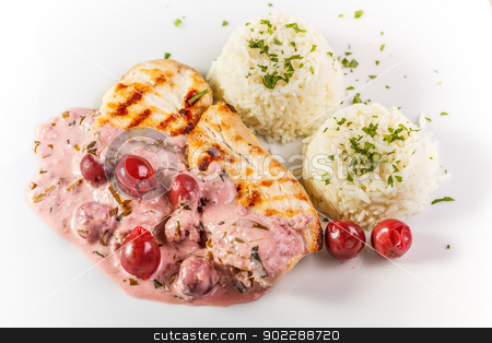 Roasted chicken breast stock photo, Roasted chicken breast with rice and sour cherry sauce  by Grafvision