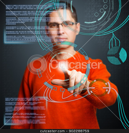 Digital concept stock photo, Young man pressing high tech type of modern buttons by Grafvision