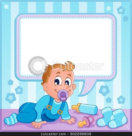Baby boy theme image 1 stock vector clipart, Baby boy theme image 1 - vector illustration. by Klara Viskova