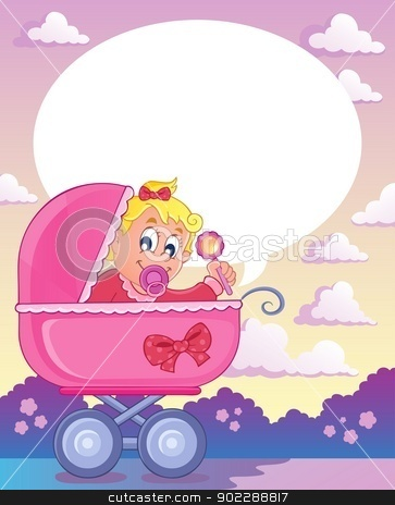 Baby girl theme image 3 stock vector clipart, Baby girl theme image 3 - vector illustration. by Klara Viskova