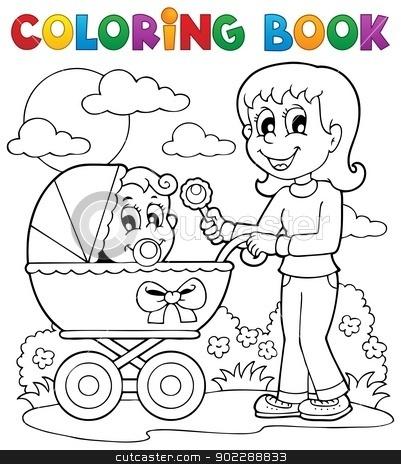 Coloring book baby theme image 2 stock vector clipart, Coloring book baby theme image 2 - vector illustration. by Klara Viskova