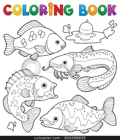 Coloring book freshwater fishes 1 stock vector clipart, Coloring book freshwater fishes 1 - vector illustration. by Klara Viskova