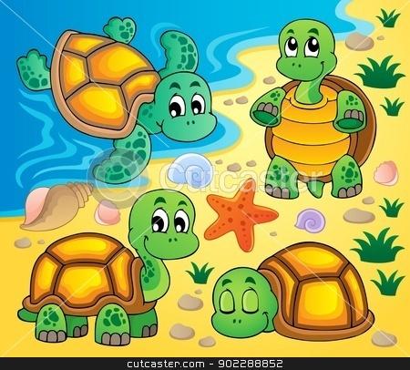 Image with turtle theme 2 stock vector clipart, Image with turtle theme 2 - vector illustration. by Klara Viskova