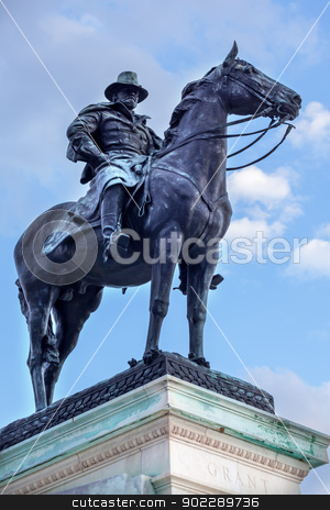 US Grant Statue Memorial Capitol Hill Washington DC stock photo, Ulysses US Grant Equestrian Statue Civil War Memorial Capitol Hill Washington DC.  Created by Henry Shrady and dedicated in 1922.  Second largest equestrian statue in the US.  Grant is riding Cincinnati, his famous horse.   by William Perry