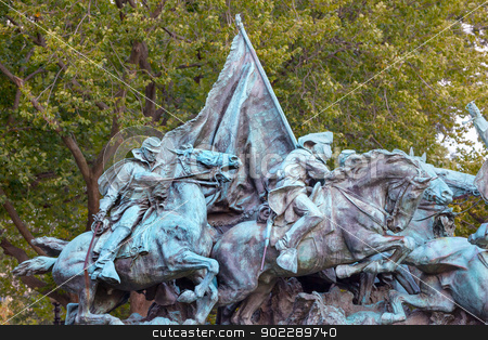 Calvary Charge US Grant Statue Civil War Memorial Capitol Hill W stock photo, Calvary Chage Ulysses US Grant Equestrian Statue Civil War Memorial Capitol Hill Washington DC.  Created by Henry Shrady and dedicated in 1922.  Shrady used real horses as models for his statues.  Memorial in front of US Capitol Building.   by William Perry