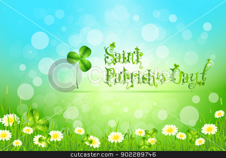 Saint Patricks Day with Flowers and Shamrock stock vector clipart, Saint Patricks Day with Flowers and Shamrock on Abstract Background by Vadym Nechyporenko
