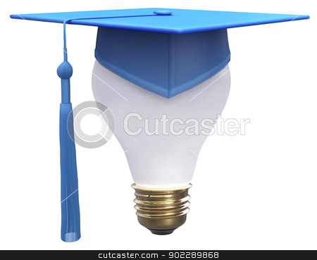 Graduation idea cap light bulb stock photo, Education degree is bright idea as light bulb and graduation cap with clipping-path by Michael Brown