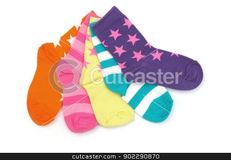 socks stock photo, striped socks isolated on a white background by Vitaliy Pakhnyushchyy
