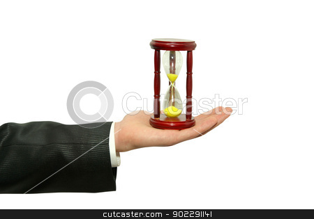 sand-glasses stock photo, Sand clock with gold sand in hand by Vitaliy Pakhnyushchyy