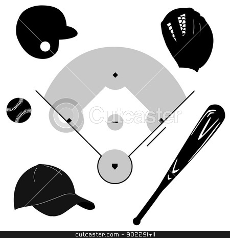 Baseball icons stock vector clipart, Icon set showing different baseball elements around a baseball diamond by Bruno Marsiaj