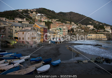Overview of Bogliasco in Liguria stock photo, Typical fishing village of Bogliasco on the mediterranean sea. A picturesque town of the italian riviera. by faabi