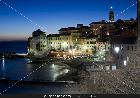 Overview of Bogliasco illuminated stock photo, Typical fishing village of Bogliasco on the mediterranean sea. A picturesque town of the italian riviera. by faabi