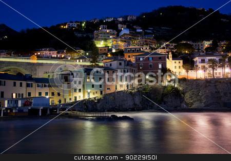 Overview of Bogliasco illuminated stock photo, Typical fishing village of Bogliasco on the mediterranean sea. A picturesque town of the italian riviera. by faabi