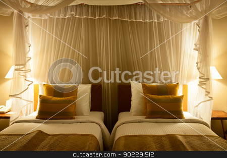 Double bed in the hotel room  stock photo, Double bed in the hotel room  by Iryna Rasko