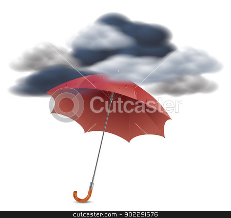 Security Concept - Umbrella Under The Clouds stock vector clipart, Red umbrella with raindrops protecting from dark clouds by ANTONIOS KARVELAS