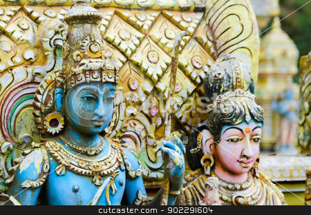 Shiva with his  wife Parvati on traditional Hindu temple stock photo, Shiva with his  wife Parvati on traditional Hindu temple, Nuwara Eliya, Sri lanka by Iryna Rasko