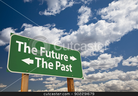 The Future, The Past Green Road Sign Over Clouds stock photo, The Future, The Past Green Road Sign Over Dramatic Clouds and Sky. by Andy Dean