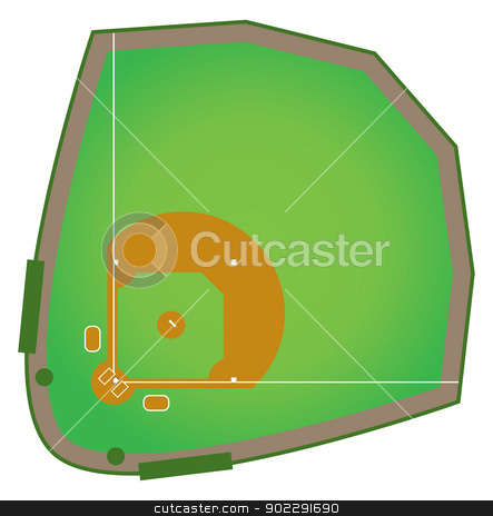 Baseball Diamond stock vector clipart, A realistic baseball diamond that would be found in all levels of college and pro baseball. by Jamie Slavy