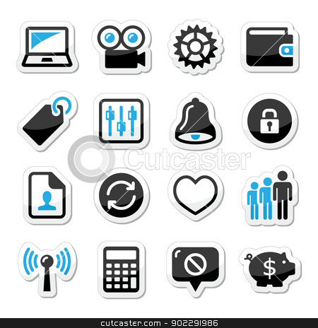 Web internet icons set - vector stock vector clipart, Application website black and blue labels set isolated on white by Agnieszka Murphy