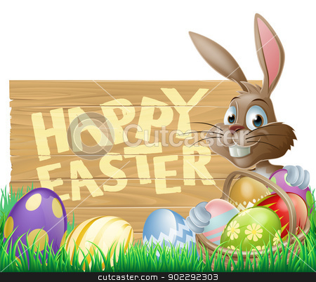 Happy Easter Sign Bunny stock vector clipart, An Easter rabbit with a basket of chocolate Easter eggs next to a sign that says Happy Easter by Christos Georghiou