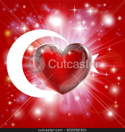 Love Turkey flag heart background stock vector clipart, Flag of Turkey patriotic background with pyrotechnic or light burst and love heart in the centre by Christos Georghiou