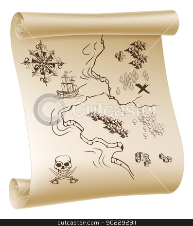 Pirate Treasure map stock vector clipart, An illustration of a pirate treasure map drawn on a paper scroll by Christos Georghiou