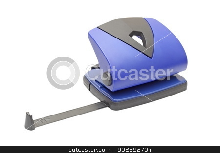 hole puncher over white stock photo, blue office hole puncher isolated over white background by coroiu octavian