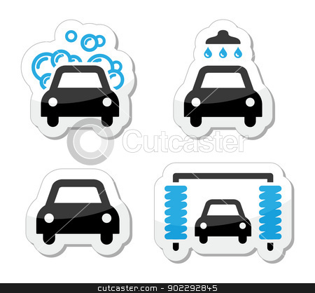 Car wash icons set - vector stock vector clipart, Modern black and blue labels - washing cars by Agnieszka Murphy