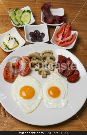 Turkish Breakfast stock photo, t's a slightly different assortment than what we had on Sunday, but the essentials (cheese, tomato, cucumber, and spreads both sweet and savory) are the same.  by Sydneyink