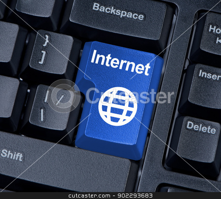 Internet Button with globe. stock photo, Internet keyboard button with globe. by Borys Shevchuk