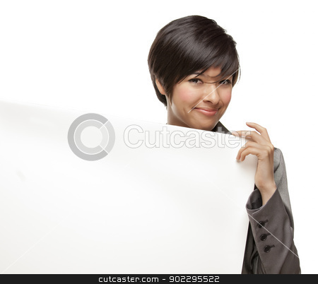 Mixed Race Young Adult Female Holding Blank White Sign stock photo, Attractive Mixed Race Young Adult Female Holding Blank White Sign in Front of Her Isolated on a White Background. by Andy Dean