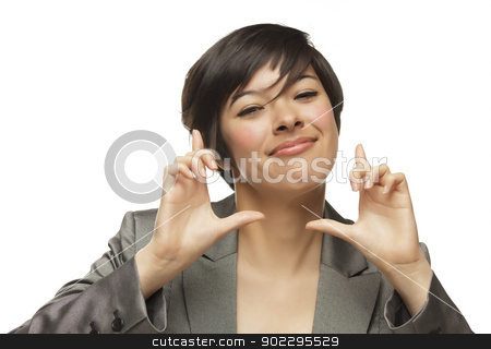 Mixed Race Young Adult Woman Hands Framing Face stock photo, Attractive Mixed Race Young Adult Woman with Hands Framing Her Face Isolated on White. by Andy Dean