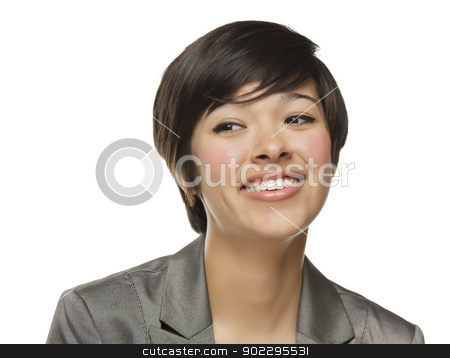 Pretty Mixed Race Young Adult Woman stock photo, Pretty Mixed Race Young Adult Woman Isolated on a White Background. by Andy Dean
