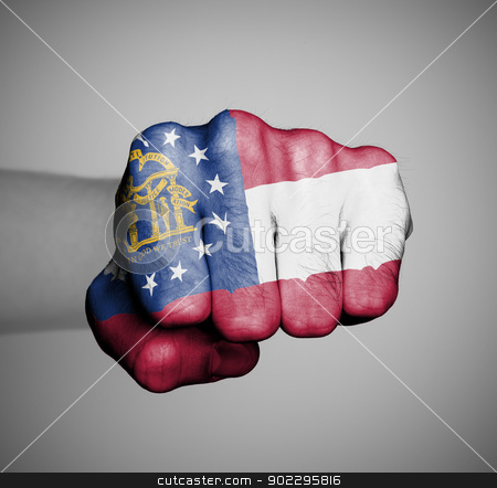 United states, fist with the flag of a state stock photo, United states, fist with the flag of a state, Georgia by michaklootwijk