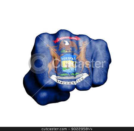 United states, fist with the flag of a state stock photo, United states, fist with the flag of a state, Michigan by michaklootwijk