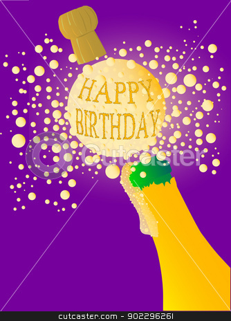 Happy Birthday Champagne stock vector clipart, Champagne bottle being opened with froth and bubbles with a large bubble exclaiming 'HAPPY BIRTHDAY' by Kotto