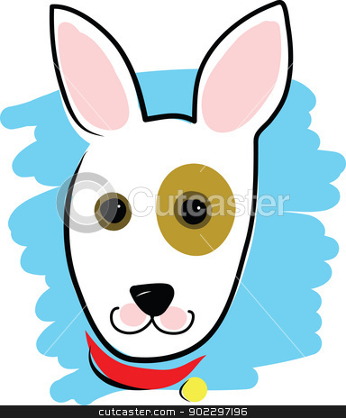 Dog Head stock vector clipart, A simple outline drawing of a dog's head and collar, embellished with bright colours. by Maria Bell