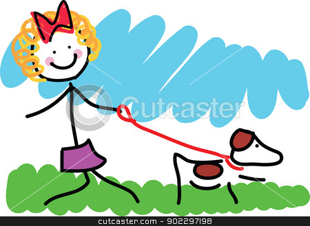 Little Girl and Dog Drawing stock vector clipart, A simple colourful childlike drawing of a school aged girl, walking her dog on a leash. by Maria Bell
