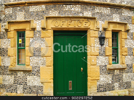 Country house stonewall, door stock photo, Country house stonewall, green wooden door, office by Aleksandar Varbenov