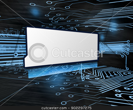 Copy space screen in circuit board stock photo, Copy space screen in digital blue and black circuit board  by Wavebreak Media
