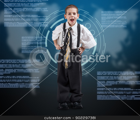 Boy wearing oversized clothes stock photo, Portrait of a boy wearing oversized clothes on digital background by Grafvision